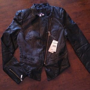 New Black faux leather and jeans jacket